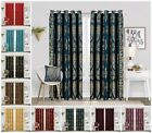 Heavy Jacquard Curtains Fully Lined Eyelet Ring Top Living Room Window Curtain