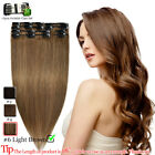 Full Head Clip In 100% Real Remy Human Hair Extensions 8pcs Hairpieces Balayage