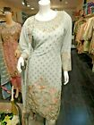 Pakistani Indian Salwar Kameez Wedding Dress Party wear Designer Suit Grey Peach