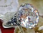 4ct White Gem Sterling Silver Flower Filigree Ring Size: Made To Order  176