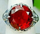 6ct Round Cut Red Ruby Sterling Silver Victorian Design Filigree Made To Order