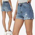 TheMogan Distressed Ripped High Waist Stretch Relaxed Roll Up Denim Shorts