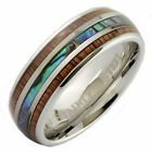 Stainless Steel 8mm Real Koa Wood and Abalone Inlay Black Plated or Non-Plated