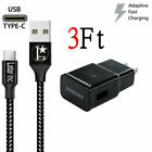 OEM Samsung Galaxy S8 S9Plus Note10 3.0 Fast Wall Charger 3/6/10 FT Type-C Cable