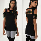 Summer Womens Cold Shoulder Short Sleeve Casual T-shirt Loose Blouse Tops US