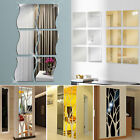 3d diy wall sticker waves square tree shape mirror art vinyl adhesive home decor