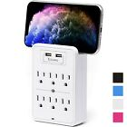 Aduro Surge Power Strip 6 Outlets  Dual USB Ports  Phone Holder Wall Outlet