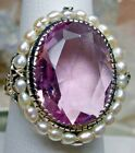 Sim Pink Topaz & Pearl Sterling Silver Victorian Filigree Ring (Made To Order)