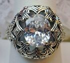 Oval 3ct White Gem Sterling Silver Deco Swirl Filigree Ring Made To Order  168