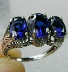 Sterling Silver Sapphire/Blue Filigree Edwardian Cocktail Ring Made To Order