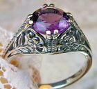 Sim Amethyst Deco Floral Sterling Silver Floral Filigree Ring Made To Order