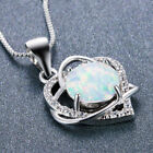 Little Girl Necklace Love Heart Necklace Jewelry Party Silver Opal Pendant Fm