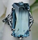 7ct Baguette Sim Aquamarine Sterling Silver Gothic Filigree Ring {Made To Order}