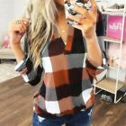UK Womens Spring Casual Loose Blouse Tops Ladies Plaid Check Basic Tee T Shirt