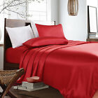 3-PC Red Bridal Satin Silky Sheet Set Queen/King Size Fitted Pillows 500TC
