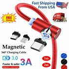 3in1 Magnetic Type C Micro USB Charger Charging Cable For Android Phones 90° USA