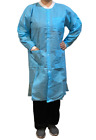 Disposable Lab Coat with 3 Pockets Blue Knit Cuff & Collar 5 pcs Knee Length