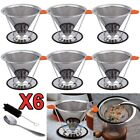 6 x Stainless Steel Pour Over Cone Dripper Double-layer Coffee Filter+Cup Stand