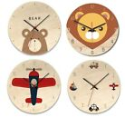 Homesync Wood  Cartoon Wall Clock Silent Movement For Children's Room