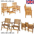 Garden Dining Set Wooden Bench With Tea Table 2 Chairs Patio Furniture Loveseat