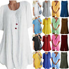 Plus Size Women Summer Linen Loose Blouse Mini Shirt Dress Tunic Tops Beachwear
