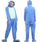 Unisex Adult Anime Blue Stich Kigurumi Onisie00 Pajamas Hooded Cosplay Sleepwear