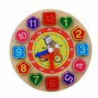 Kids Wooden Toy Colorful Number Digital Geometry Cognitive Matching Clock Puzzle
