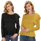 KK Women's Long Sleeve Blouse Ruffled Casual Office Shirt Flared Pleated Tops