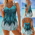 Women Plus Size Women Swimdress Swimwear Swimsuit Padded Two Piece Tankini Sets