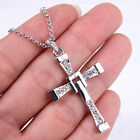 Unisex 18K White Gold Filled Movable CROSS Crystal Pendant + Necklace Chain H003 image