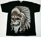 INDIAN Warrior T-shirt Native American Chief Skull Tee Men's 100% Cotton New image