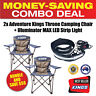 2x Kings Throne Camping Chair + Portable Steel Fire Pit Warmth Heat Camping