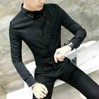 Mens Gothic Dance Shirts Slim Fit Casual Sequins Formal Party Club Dress Blouse