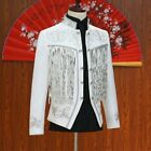 Mens Embroidered Tassels Sequin Double breasted 2 Piece Suit Jacket Trouser Chic