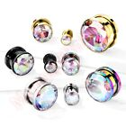 Aurora Gem Screw Fit Ear Tunnel Stretcher Body Piercing CHOOSE SINGLE OR PAIR