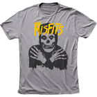 The Misfits Punk Rock Band Distressed Skeleton Grey Adult Jersey T-Shirt Tee image