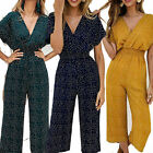 Women Polka Dot Long Playsuit Ladies Holiday Summer Wide Leg Jumpsuit Size 6-20