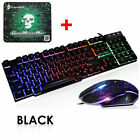 Rainbow Backlit Wired Gaming Keyboard Mouse Combo LED 104 Keys USB For PC PS4