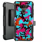 Holster Case for LG Harmony 4/ Premier Pro Plus Phone Cover - TEAL STYLISH CAMO