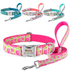 Small Medium Large Dog Collar Laesh Set Personalized Free Engraved ID Name SX-L