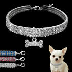 Bling Rhinestone Dog Necklace Collar Diamante & Pendant for Pet Puppy Chihua Hot