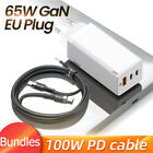 Baseus GaN 65W Quick Charge 4.0 3.0 USB C PD Charger 3USB Ports Portable Charger