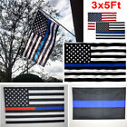 3x5ft Us Police Thin Red Line Us Police Flag   Embroidered Stars Sewn Stripes S5