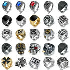 Vintage Mens Stainless Steel Punk Gothic Biker Band Rings Jewelry Size 8-15