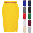 Hot Women Soft Stretchy Solid Color Hips-wrapped Straight Pencil Skirt