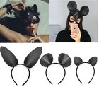 Women Bunny Ears Mask Black Sexy Leather Halloween Masquerade Party Cosplay Wear