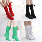 Womens Girls Mens Jazz Dance Boots High Top Canvans Kids Perform Lace Up Shoes