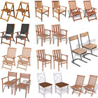 2 pcs Wooden Dining Chairs Seat Armchair Lounger Outdoor Garden Patio Furniture