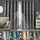 Ready Made Thermal Blackout Curtain Eyelet Ring Top Pair Curtains With Tie Backs