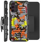 Holster Case For Galaxy Note20/Note 20 Ultra 5G Phone Cover- ORANGE STYLISH CAMO